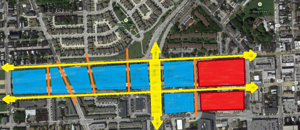 Possible Baltimore infill development scenario for the Highway to Nowhere